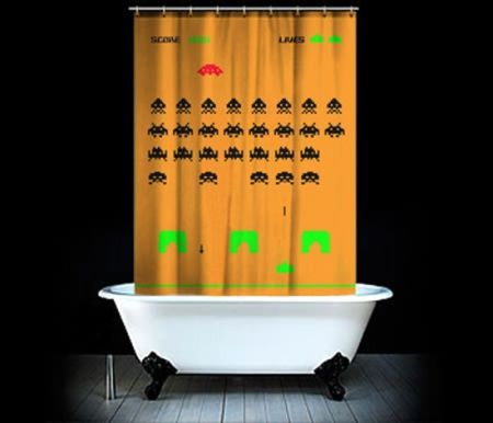 space invaders shower curtains