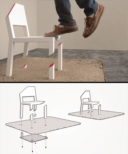This is not phottoshopped, this chair is indeed cut. And you can stand on it. Isn't that amazing?