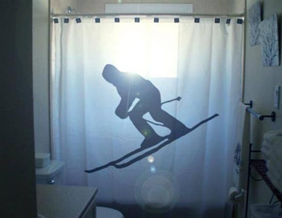skiig shower curtain Coolest Bath Curtains as seen on CoolWeirdo.com