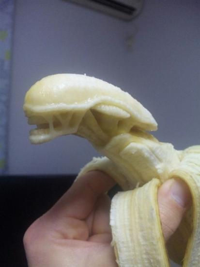 alien banana sculpture