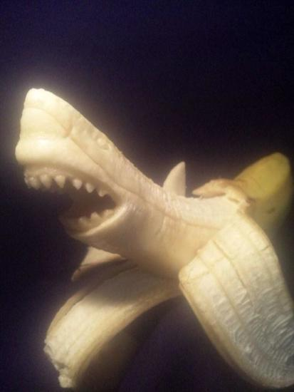 shark banana sculpture