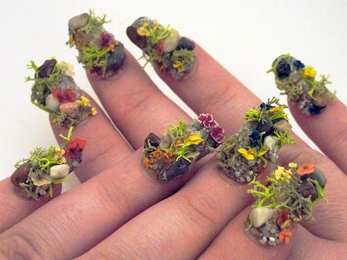 Flowers garden nail art design 1