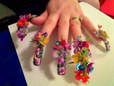 Flowers garden nail art design