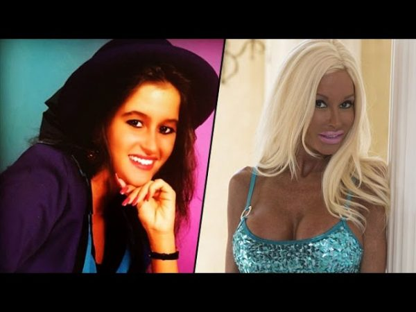 before and after Nannette hammond became a Tanned Barbie 600x450