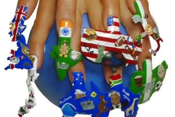 continents nail art desing 600x403
