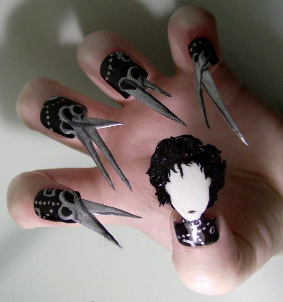 edward scissorhands nail art design 562x600