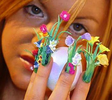 flowers boquete nail art design