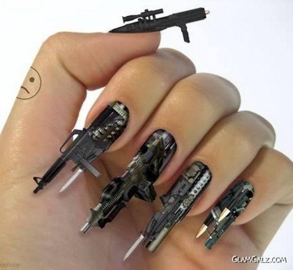 guns nails art designs  600x552