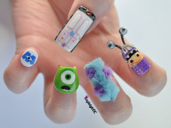 monsters nail art design 600x447