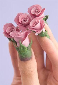 roses nail art design