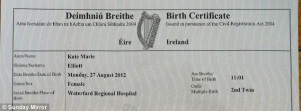 birth certificate of Katie 600x222