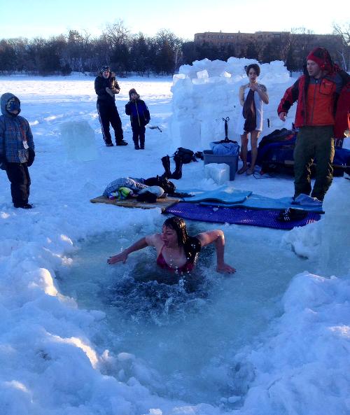 swimming infrozen cedar lake